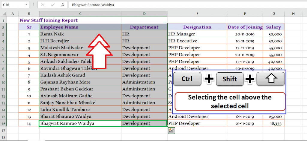 Ctrl + Shift + Up Arrow - To select the data above the selected cell 30 Excel shortcut keys that make Excel user friendly | Learn Excel Shortcut Keys in Details