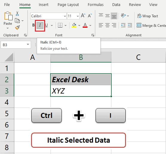 Ctrl + I  -  Italicizing text 30 Excel shortcut keys that make Excel user friendly | Learn Excel Shortcut Keys in Details